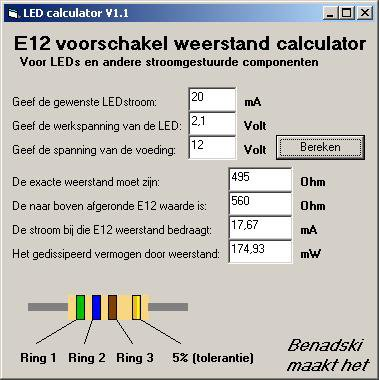 Screenshot LED voorschakelweerstand calculator