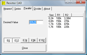 Screenshot Resistor CAD 2.0