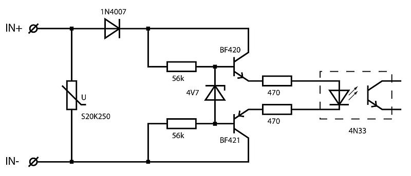 optocoupler met hoog ingangsbereik